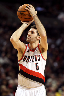 PORTLAND, OR - JANUARY 09: Rudy Fernandez #5 of the Portland Trail Blazers pulls up for a shot against the Miami Heat during a game on January 9, 2011 at the Rose Garden Arena in Portland, Oregon. NOTE TO USER: User expressly acknowledges and agrees that,