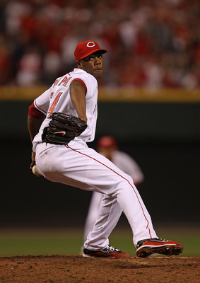 CINCINNATI - OCTOBER 10: Aroldis Chapman #54 of the Cincinnati Reds pitches in the 9th inning against the Philadelphia Phillies during game 3 of the NLDS at Great American Ball Park on October 10, 2010 in Cincinnati, Ohio. The Phillies defeated the Reds 2