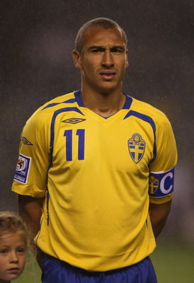 STOCKHOLM, SWEDEN - SEPTEMBER 10: Henrik Larsson of Sweden waits for the national anthem before the FIFA2010 World Cup qualifier Group 1 match between Sweden and Hungary at the Rasunda Stadium on September 10, 2008 in Stockholm, Sweden.  (Photo by Gary M.