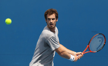 MELBOURNE, AUSTRALIA - JANUARY 21:  Andy Murray of Great Britain plays a backhand on the practice court during day five of the 2011 Australian Open at Melbourne Park on January 21, 2011 in Melbourne, Australia.  (Photo by Clive Brunskill/Getty Images)