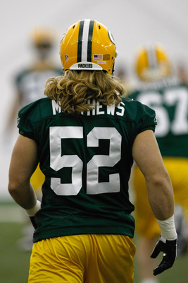GREEN BAY, WI - MAY 1:  Linebacker Clay Mathews #52 walks on the field as he participates in practice drills during Green Bay Packers Minicamp at Don Hutson Center on May 1, 2009 in Green Bay, Wisconsin. (Photo by Scott Boehm/Getty Images)