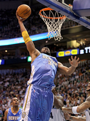 SALT LAKE CITY - APRIL 25:  Nene #31 of the Denver Nuggets shoots the ball against the Utah Jazz during  Game Four of the Western Conference Quarterfinals of the 2010 NBA Playoffs at EnergySolutions Arena on April 25, 2010 in Salt Lake City, Utah. NOTE TO