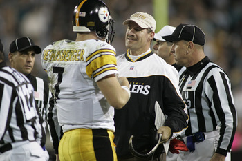 JACKSONVILLE, FL - DECEMBER 5:  Quarterback Ben Roethlisberger #7 and head coach Bill Cowher of the Pittsburgh Steelers talk on the sideline during the game against the Jacksonville Jaguars at Alltel Stadium on December 5, 2004 in Jacksonville, Florida. P