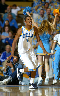 WESTWOOD, CA - FEBRUARY 19:  Trevor Ariza #4 of the UCLA Bruins celebrates after a basket during the first half against the California State Golden Bears on February 19, 2004 at Pauley Pavillion in Westwood, California.  (Photo by Lisa Blumenfeld/Getty Im