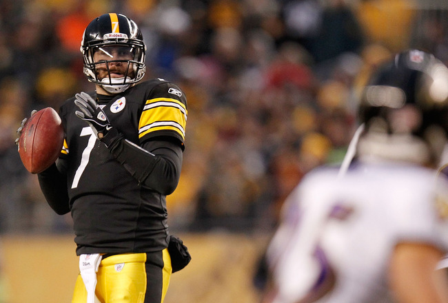 PITTSBURGH, PA - JANUARY 15:  Quarterback Ben Roethlisberger #7 of the Pittsburgh Steelers drops back to pass against the Baltimore Ravens in the AFC Divisional Playoff Game at Heinz Field on January 15, 2011 in Pittsburgh, Pennsylvania.  (Photo by Gregor