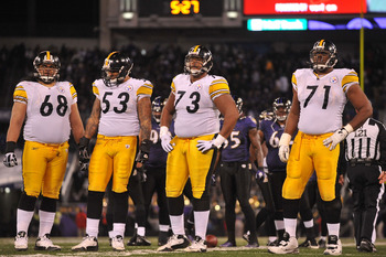 BALTIMORE, MD - DECEMBER 05:  Chris Kemoeatu #68, Maurkice Pouncey #53, Ramon Foster #73 and Flozell Adams #71 of the Pittsburgh Steelers look on during the game against the Baltimore Ravens at M&T Bank Stadium on December 5, 2010 in Baltimore, Maryland.
