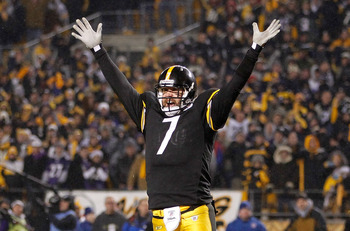 PITTSBURGH, PA - JANUARY 15:  Quarterback Ben Roethlisberger #7 of the Pittsburgh Steelers celebrates the game winning touchdown against the Baltimore Ravens in the fourth quarter of the AFC Divisional Playoff Game at Heinz Field on January 15, 2011 in Pi
