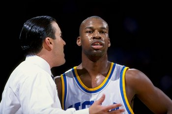 21 Feb 1999: Baron Davis #5 of the UCLA Bruins listens to head coach Steve Lavin during the game against the  Syracuse Orangemen at the Pauley Pavilion in Westwood, California. The Bruins defeated the Orangemen 93-69. Mandatory Credit: Tom Hauck  /Allspor