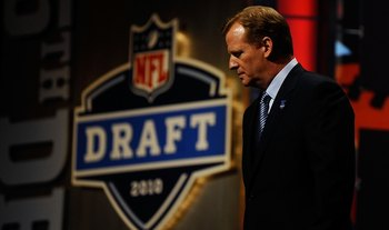 NEW YORK - APRIL 22:  NFL Commissioner Roger Goodell looks on as he stands on stage during the first round of the 2010 NFL Draft at Radio City Music Hall on April 22, 2010 in New York City.  (Photo by Jeff Zelevansky/Getty Images)