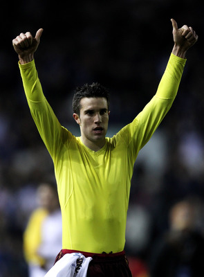 LEEDS, ENGLAND - JANUARY 19:  Robin van Persie of Arsenal salutes the fans at the end of the FA Cup sponsored by E.On Third Round Replay match between Leeds United and Arsenal at Elland Road on January 19, 2011 in Leeds, England.  (Photo by Alex Livesey/G