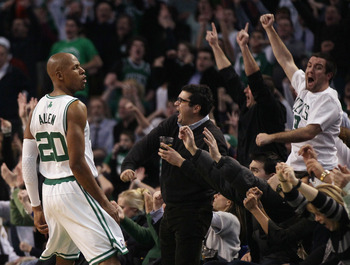BOSTON, MA - JANUARY 19:  Ray Allen #20 of the Boston Celtics celebrates his game winning shot in the fourth quarter against the Detroit Pistons on January 19, 2011 at the TD Garden in Boston, Massachusetts. The Celtics defeated the Pistons 86-82. NOTE TO
