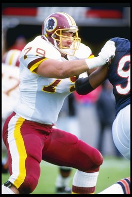 6 Oct 1991:  Offensive lineman Jim Lachey of the Washington Redskins blocks a Chicago Bears player during a game at Soldier Field in Chicago, Illinois.  The Redskins won the game, 20-7. Mandatory Credit: Jonathan Daniel  /Allsport