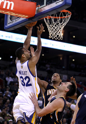 OAKLAND, CA - JANUARY 19:  Brandan Wright #32 of the Golden State Warriors in action against the Indiana Pacers at Oracle Arena on January 19, 2011 in Oakland, California.  NOTE TO USER: User expressly acknowledges and agrees that, by downloading and or u