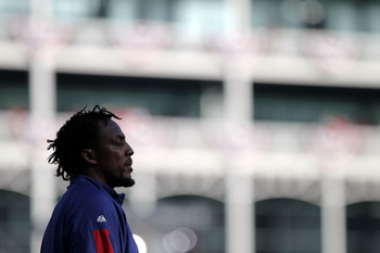 ARLINGTON, TX - NOVEMBER 01:  Vladimir Guerrero #27 of the Texas Rangers looks on during batting practice against the San Francisco Giants in Game Five of the 2010 MLB World Series at Rangers Ballpark in Arlington on November 1, 2010 in Arlington, Texas.
