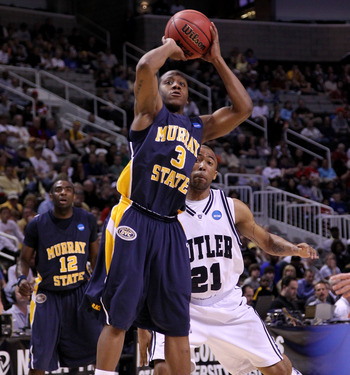 SAN JOSE, CA - MARCH 20:  Guard Isaiah Canaan #3 of the Murray State Racers goes up for a shot against the Butler Bulldogs during the second round of the 2010 NCAA men's basketball tournament at HP Pavilion on March 20, 2010 in San Jose, California.  (Pho