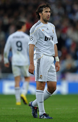 MADRID, SPAIN - MARCH 10:  Captain Raul Gonzalez of Real Madrid looks on during the UEFA Champions League round of 16 second leg match between Real Madrid and Lyon at the Estadio Santiago Bernabeu on March 10, 2010 in Madrid, Spain. Real Madrid drew the m