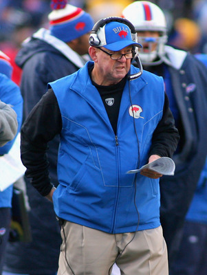 ORCHARD PARK, NY - NOVEMBER 28: Chan Gailey, head coach of the Buffalo Bills stands on the sidelines during a timeout against the Pittsburgh Steelers at Ralph Wilson Stadium at Ralph Wilson Stadium on November 28, 2010 in Orchard Park, New York.  (Photo b