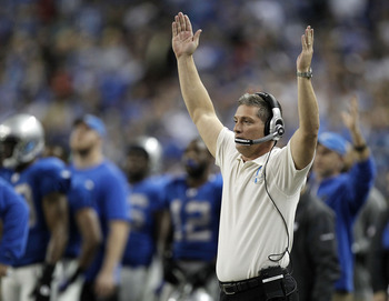 DETROIT - NOVEMBER 25:  Head coach Jim Schwartz of the Detroit Lions reacts on a play near the goal line while playing the New England Patriots on November 25, 2010 at Ford Field in Detroit, Michigan.  (Photo by Gregory Shamus/Getty Images)