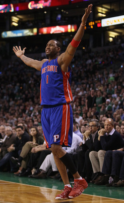 BOSTON, MA - JANUARY 19:  Tracy McGrady #1 of the Detroit Pistons reacts after he misses a shot and no foul was called against the Boston Celtics during the final minutes of the game on January 19, 2011 at the TD Garden in Boston, Massachusetts. The Celti