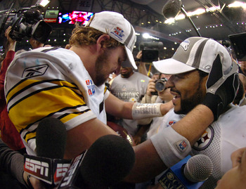 Ben Roethlisberger and Jerome Bettis of the Pittsburgh Steelers celebrate after Super Bowl XL between the Pittsburgh Steelers and Seattle Seahawks at Ford Field in Detroit, Michigan on February 5, 2006. (Photo by A. Messerschmidt/Getty Images)