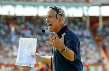 MIAMI - NOVEMBER 15:  Head coach Paul Pasqualoni of the Syracuse Orangemen voices his opinion about a face masking call against his team as the Miami Hurricanes defeated the Orangemen 17-10  during NCAA football action on November 15, 2003 at the Orange B