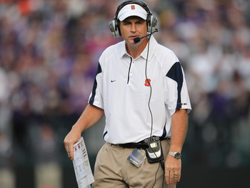 SEATTLE - SEPTEMBER 11:  Head coach Doug Marrone of the Syracuse Orange looks on during the game against the Washington Huskies on September 11, 2010 at Husky Stadium in Seattle, Washington. (Photo by Otto Greule Jr/Getty Images)