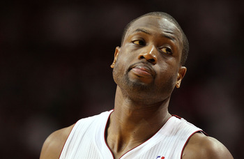 MIAMI, FL - JANUARY 18:  Dwyane Wade #3 of the Miami Heat looks on in frustration during a game against the Atlanta Hawks at American Airlines Arena on January 18, 2011 in Miami, Florida. NOTE TO USER: User expressly acknowledges and agrees that, by downl