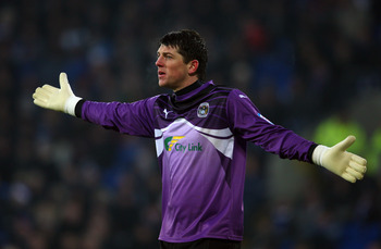 CARDIFF, WALES - DECEMBER 26: Coventry City goalkeeper Keiren Westwood in action during the npower Championship game between Cardiff City and Coventry City at Cardiff City Stadium on December 26, 2010 in Cardiff, Wales.  (Photo by Stu Forster/Getty Images