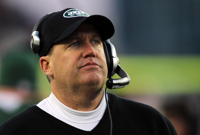FOXBORO, MA - JANUARY 16:  Head coach Rex Ryan of the New York Jets looks on during their 2011 AFC divisional playoff game against the New England Patriots at Gillette Stadium on January 16, 2011 in Foxboro, Massachusetts.  (Photo by Jim Rogash/Getty Imag