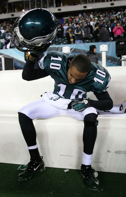 PHILADELPHIA, PA - JANUARY 09:  DeSean Jackson #10 of the Philadelphia Eagles reacts after their 16 to 21 loss to the Green Bay Packers during the 2011 NFC wild card playoff game at Lincoln Financial Field on January 9, 2011 in Philadelphia, Pennsylvania.