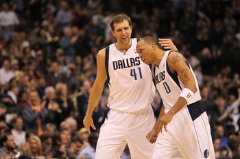 DALLAS, TX - JANUARY 19:  Dirk Nowitzki #41 and Shawn Marion #0 of the Dallas Mavericks react during play against the Los Angeles Lakers at American Airlines Center on January 19, 2011 in Dallas, Texas.  NOTE TO USER: User expressly acknowledges and agree