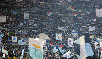 ROME, ITALY - JANUARY 19:  The fans of Lazio during the Tim Cup match between Roma and Lazio at Stadio Olimpico on January 19, 2011 in Rome, Italy.  (Photo by Giuseppe Bellini/Getty Images)