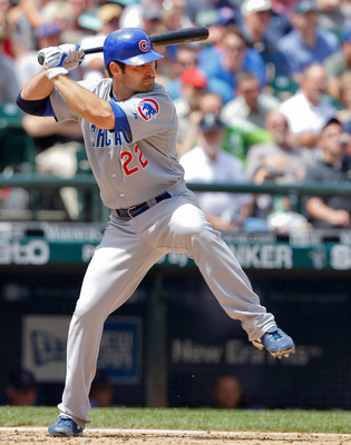 SEATTLE - JUNE 24: Xavier Nady #22 of the Chicago Cubs bats against the Seattle Mariners at Safeco Field on June 24, 2010 in Seattle, Washington. (Photo by Otto Greule Jr/Getty Images)