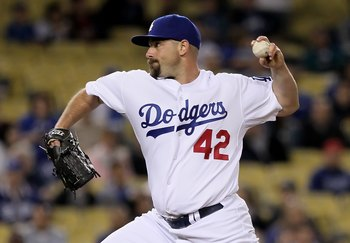 LOS ANGELES, CA - APRIL 15:  George Sherrill of the Los Angeles Dodgers pitches against the Arizona Diamondbacks at Dodger Stadium on April 15, 2010 in Los Angeles, California.  (Photo by Jeff Gross/Getty Images)