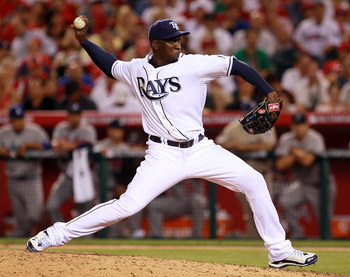 ANAHEIM, CA - JULY 13:  American League All-Star Rafael Soriano of the Tampa Bay Rays throws a pitch during the 81st MLB All-Star Game at Angel Stadium of Anaheim on July 13, 2010 in Anaheim, California.  (Photo by Jeff Gross/Getty Images)