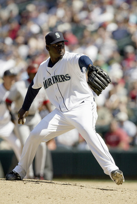 SEATTLE - JULY 4:  Rafael Soriano #39 of the Seattle Mariners winds back to pitch during the game against the Los Angeles Angels of Anaheim on July 4, 2006 at Safeco Field in Seattle Washington. The Angels won 14-6. (Photo by Otto Greule Jr/Getty Images)
