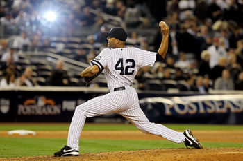 NEW YORK - OCTOBER 20:  Mariano Rivera #42 of the New York Yankees pitches against the Texas Rangers in Game Five of the ALCS during the 2010 MLB Playoffs at Yankee Stadium on October 20, 2010 in the Bronx borough of New York City.  (Photo by Jim McIsaac/