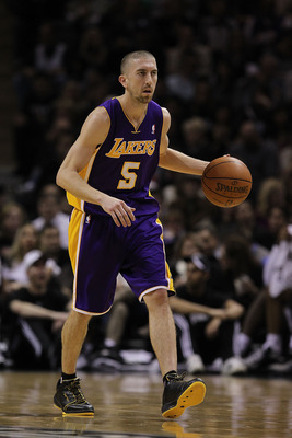 SAN ANTONIO, TX - DECEMBER 28:  Guard Steve Blake #5 of the Los Angeles Lakers at AT&T Center on December 28, 2010 in San Antonio, Texas.  NOTE TO USER: User expressly acknowledges and agrees that, by downloading and/or using this photograph, user is cons