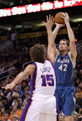 PHOENIX - MARCH 16:  Kevin Love #42 of the Minnesota Timberwolves puts up a shot during the NBA game against the Phoenix Suns at US Airways Center on March 16, 2010 in Phoenix, Arizona. The Suns defeated the Timberwolves 152-114.  NOTE TO USER: User expre