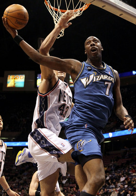 EAST RUTHERFORD, NJ - JANUARY 29:  Andray Blatche #7 of the Washington Wizards puts up a shot against the New Jersey Nets at the Izod Center on January 29, 2010 in East Rutherford, New Jersey. NOTE TO USER: User expressly acknowledges and agrees that, by