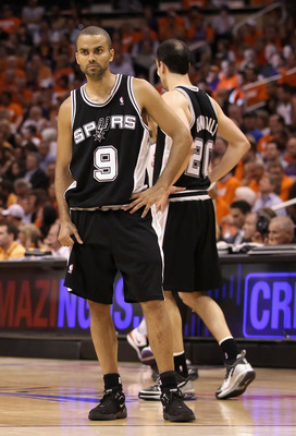 PHOENIX - MAY 03:  Tony Parker #9 of the San Antonio Spurs reacts after a missed three point attempt during Game One of the Western Conference Semifinals of the 2010 NBA Playoffs against the Phoenix Suns at US Airways Center on May 3, 2010 in Phoenix, Ari