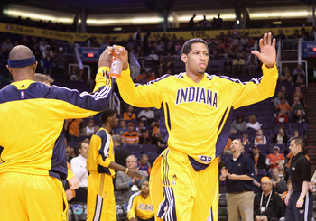 PHOENIX - DECEMBER 03:  Danny Granger #33 of the Indiana Pacers is introduced before the NBA game against the Phoenix Suns at US Airways Center on December 3, 2010 in Phoenix, Arizona. NOTE TO USER: User expressly acknowledges and agrees that, by download
