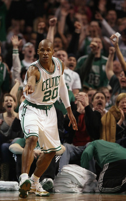 BOSTON, MA - JANUARY 17:  Ray Allen #20 of the Boston Celtics celebrates his three point shot in the fourth quarter against the Orlando Magic on January 17, 2011 at the TD Garden in Boston, Massachusetts. The Celtics defeated the Magic 109-106.  NOTE TO U