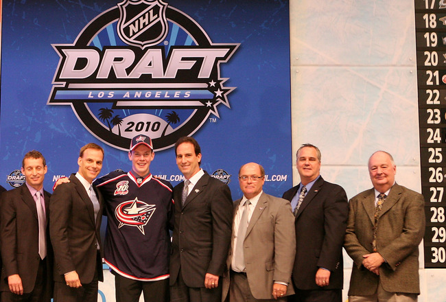 LOS ANGELES, CA - JUNE 25:  Ryan Johansen, drafted fourth overall by the Columbus Blue Jackets, poses on stage during the 2010 NHL Entry Draft at Staples Center on June 25, 2010 in Los Angeles, California.  (Photo by Bruce Bennett/Getty Images)