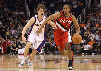 PHOENIX - DECEMBER 10:  Andre Miller #24 of the Portland Trail Blazers drives with the ball past Goran Dragic #2 of the Phoenix Suns during the NBA game at US Airways Center on December 10, 2010 in Phoenix, Arizona. The Trail Blazers defeated the Suns 101