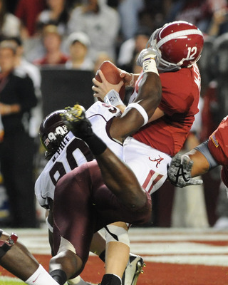 TUSCALOOSA, AL - NOVEMBER 13: Defensive lineman Pernell McPhee #90 of the Mississippi State Bulldogs sacks quarterback Greg McElroy #12 of the Alabama Crimson Tide November 13, 2010 at Bryant-Denny Stadium in Tuscaloosa, Alabama.  (Photo by Al Messerschmi