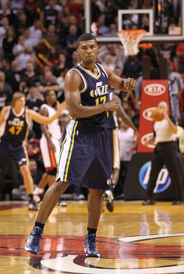 MIAMI - NOVEMBER 09:  Ronnie Price #17 of the Utah Jazz reacts after scoring during a game against the Miami Heat at American Airlines Arena on November 9, 2010 in Miami, Florida. NOTE TO USER: User expressly acknowledges and agrees that, by downloading a