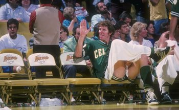 Undated:  Bill Walton of the Boston Celtics looks on during a game versus the Los Angeles Lakers at the Forum in Inglewood, California. Mandatory Credit: Rick Stewart  /Allsport