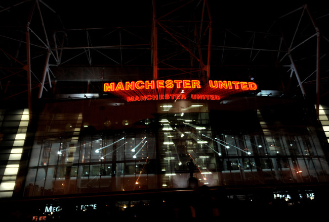 MANCHESTER, ENGLAND - MARCH 10:  A general view of thw outside of the East Stand before the UEFA Champions League First Knockout Round, second leg match between Manchester United and AC Milan at Old Trafford on March 10, 2010 in Manchester, England.  (Pho