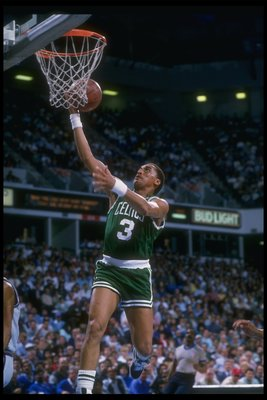 DENVER - 1988-1989:  Dennis Johnson of the Boston Celtics sinks the ball during the 1988-1989 NBA game against the Denver Nuggetts in Denver, Colorado. NOTE TO USER: User expressly acknowledges and agrees that, by downloading and/or using this Photograph,